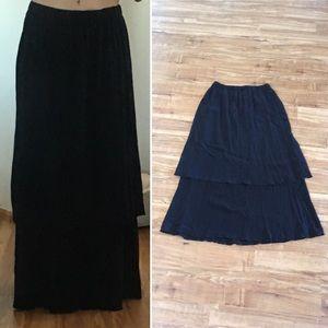 FLAX double layer Boho Maxi Skirt Black M